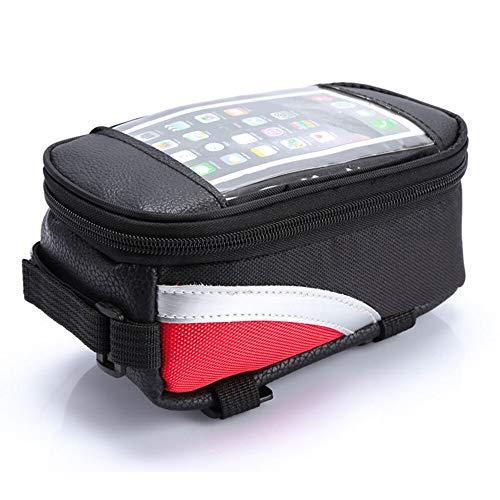 HUUATION Bolsa de Ciclismo Bicicleta Bicicleta de Cabeza Tubo Handlebar Celular Bolsa de teléfono móvil Soporte de Caja Phone Phone Bags Bags Funda con Pantalla táctil(Red)