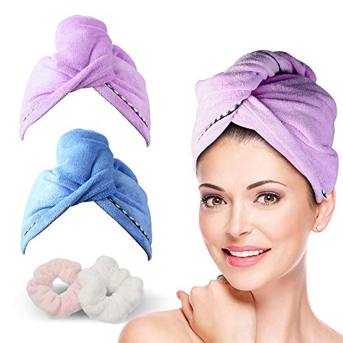 2 Pack Hair Towel Wrap Turban Microfiber Drying Bath Shower Head Towel with Buttons, Quick Magic...