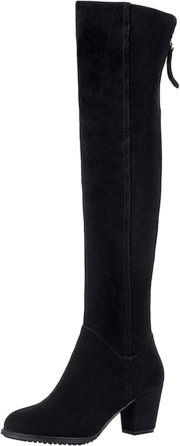 Rismart Women's Knee High Chunky Heel Suede Leather Fashion Boots