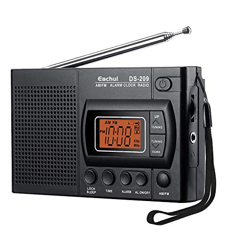Eachui Tragbarer AM FM Radio, Kleines Radio mit Lautsprecher, Kopfhörerbuchse, Sleep-Timer, Alarm Wecker, batteriebetrieben