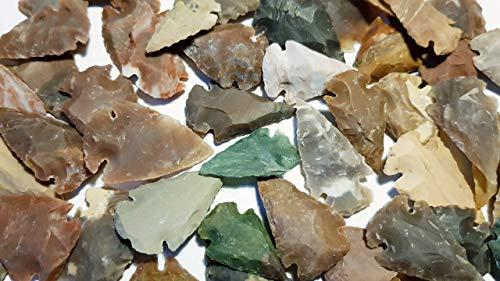 Unbekannt 100 pequeñas Puntas de Flecha de Jaspe y ágata 2,5 – 3,5 cm (imitación)