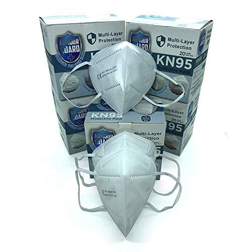 Reino Unido - Máscara facial KN95 - Máscaras faciales FFP2 - Máscara facial desechable N95 - Máscaras faciales protectoras de grado médico FFP2/ KN95/N95, 95% de filtración (paquete de 20 piezas)