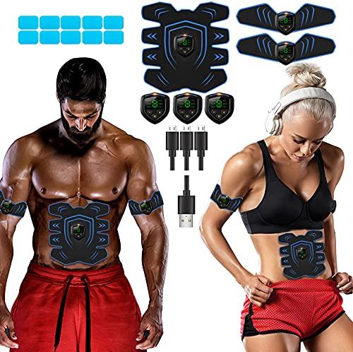 LEMENG Muskelstimulation, EMS Training Muskelstimulator, Elektrisch Gürtel muskelstimulator, Bauchmuskeltrainer Fitness Geräte, Wiederaufladbare Muskeln Trainer Für Männer Frauen Gewicht Abnehmen