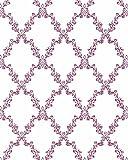 Papel Pintado Floral - Tejido no Tejido - Flores Rojas en cruz - Fabricado en Alemania - 10,05mx0,53m