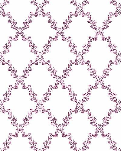 Vliestapete mit floralem Motiv - Rot Weiß - Harald Glööckler - Romantisch und Modern - Für Schlafzimmer, Wohnzimmer oder Kinderzimmer - Made in Germany - 10,05 m x 0,53m
