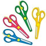Bastelschere Kinder-Scheren Set mit Sicherung | Blau Grün Gelb Rosa -