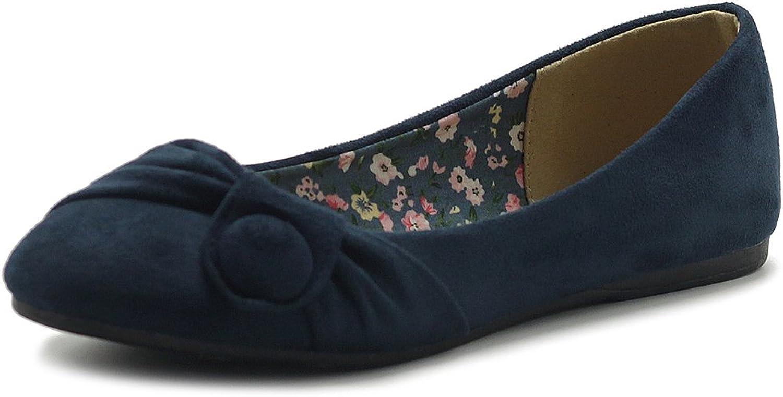 Ollio Womens shoes Faux Suede Decorative Button Ballet Flat ZM1707F (8.5 B(M) US, Navy)