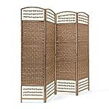 Relaxdays–Biombo Plegable de 4Paneles de bambú, Protege de la luz,...