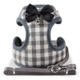 CHBORLESS Small Dog Vest Harness and Leash Set Classic Lattice Dog Harness with Bow Tie and Bell Dog Lead Leash Adjustable Vest Harness (Grey, M)