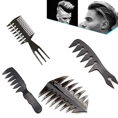 4 Stück Haarkamm Set Männer Kammset Friseur Männer Styling Kamm Öl Kopf Kamm Kunststoffkamm Kamm Männer Friseur Werkzeug Breite Zähne Gabel Kamm