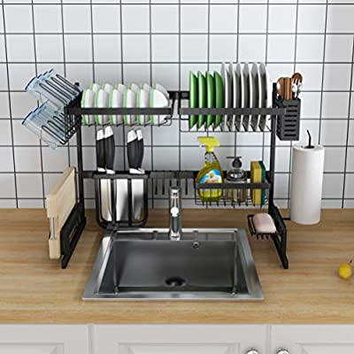 Skywin Kitchen Dish Rack Over Sink - 2 Tier Dish Rack for Counter Over the Sink Dish Rack - Stainless Steel Dish Rack (Small Dish Rack - Black 27 inch) by