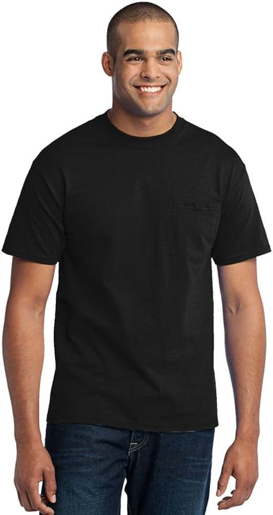 Port & Company Tall 50/50 Cotton/Poly T-Shirt with Pocket-3XLT (Jet Black)