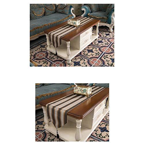 SHENGLI Mantel de mesa, mantel, moderno y minimalista, comida, campo, cama, bandera, mesa de café, rayas (color: marrón, tamaño: 33 x 180 cm)