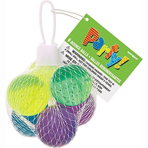 Unique Party - 74058 - Paquet de 6 Balles Rebondissantes à Paillettes pour Pochettes - Cadeau