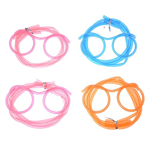 SODIAL(R) 4x Novelty Glasses Design Drinking Straw Funny Party Birthday
