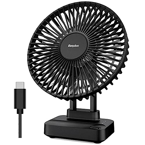 EasyAcc Tischventilator Luftzirkulation USB Ventilator Mini Leiser Tragbarer 3 Einstellbare Geschwindigkeiten Starker Lufstrom Persönlicher Desktop Fan für den Schreibtisch, Zuhause, Büro und Zimmer