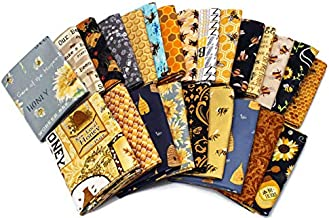 10 Fat Quarters - Honey Bee Bumblebee Save The Bees Apiary Beekeeper Honey Comb Hive Skep Beekeeping Beeswax Insects Quality Quilters Cotton Assorted Fat Quarter Bundle M229.03