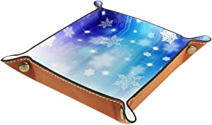 Galaxy Snow Flakes Valet Tray Storage Organizer Box Coin Tray Key Tray Nightstand Desk Microfiber Leather Pouch,16x16cm