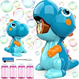 BubblePals Dinosaur Bubble Machine for Toddlers, Automatic Bubble Maker with Solutions for Kids Age 3-5 4-8, Outdoor Water Toys for Backyard Boys Girls Birthday Gift (Blue)
