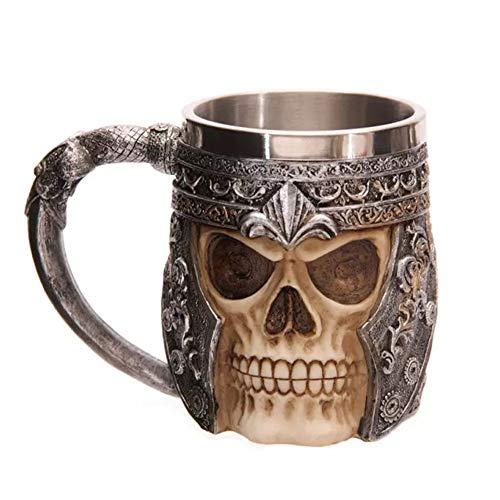 Ruiting 3D Skull Design Mug Stainless Steel Cup Skeleton Tankard Cup Drinking Tea Cup Creepy Skull Coffee Mug