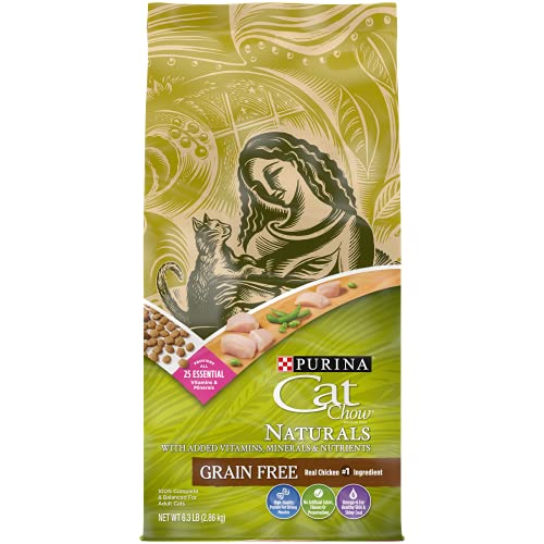 Purina Cat Chow Grain Free, Natural Dry Cat Food, Naturals With Real Chicken - 6.3 lb. Bag