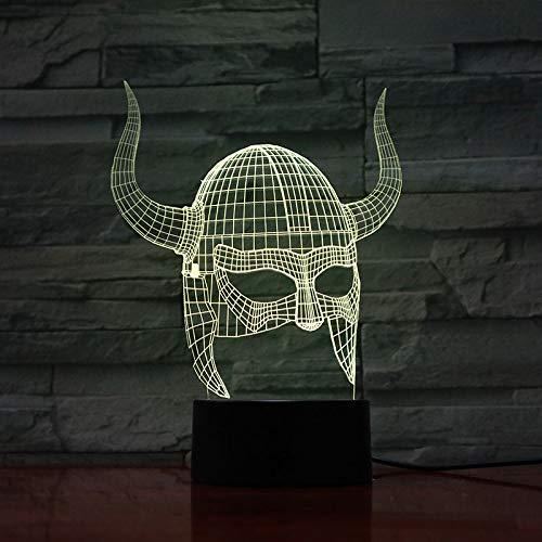 Weihnachtsgeschenk Kunst Dekoration 3D Lampe Wikinger Helme Visuelle Lichteffekt Farbwechsel Mit Fernbedienung Beste Dekoration Led Nachtlicht Lampe