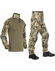 [HEAT VOICE] サバゲー コンバットシャツ 迷彩服 戦闘服 自衛隊 長袖 上下セット 日本人サイズ エルボーパッド ニーパッド付き