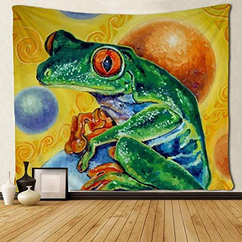 QIAO Art Tapestry Mantel Colcha Rana Verde Animal Paly On The Galaxy Planetas Pintura al ¨Leo Tapiz Tapiz psicod¨¦Lico Tapiz de Pared Mandala Bohemia Fantas¨ªa ex¨Tica Eco-FR
