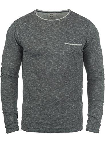 Redefined Rebel Maverick Herren Strickpullover Feinstrick Pullover mit Rundhalsausschnitt und Brusttasche, Größe:L, Farbe:Antracit Grey