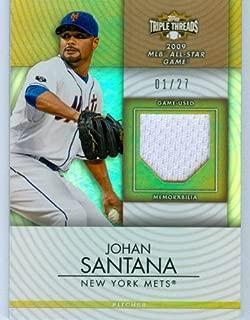 2012 Topps Triple Threads Authentic Johan Santana Game Worn Jersey Card #'d 1 of 27!