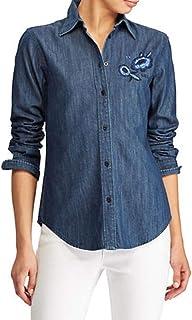 Ralph Lauren Lauren Petite Floral Embroidered Denim Button-Down Shirt, Blue, Petite Small