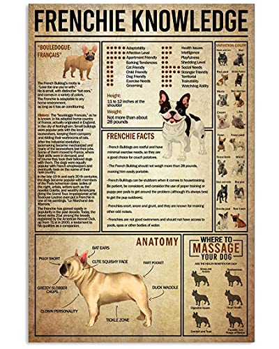 Funny Dog Wall Art French Bulldog Poster Frenchie Knowledge Poster Canvas Vintage Home Decor Wall Art Christmas Anniversary Housewarming Birthday Gifts for Women Men Dog Lovers Dog Dad Dog Mom Gifts