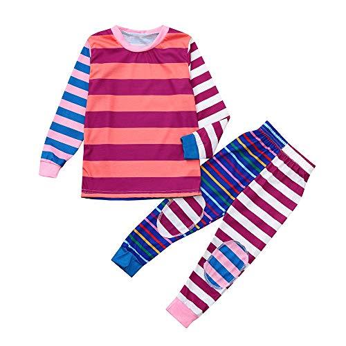 Alikey ✿ 2 stuks kerstbroek, lange mouwen, zacht, schattige strepen, top + broek, kleding voor het gezin.