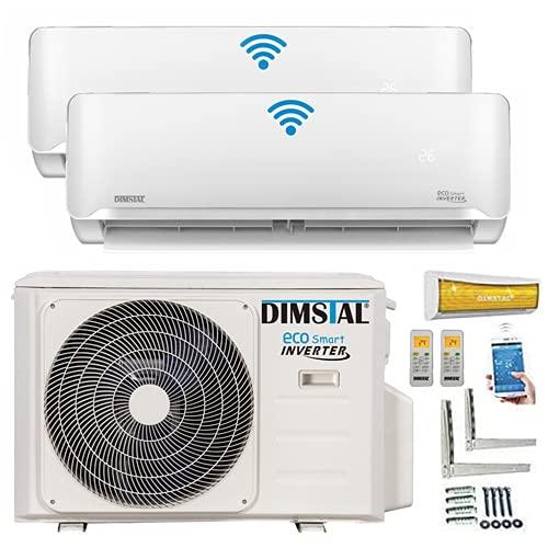 A++/A++ Duo-Split WiFi/Wi-Fi Controller Golden-Fin 2,6 + 3,5 kW 9000 + 12000 BTU MultiSplit Climatizzatore Inverter con due unità interne, 2 dispositivi interni e riscaldamento