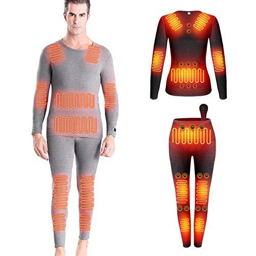 Yeah-hhi Ropa interior térmica de invierno traje de 12 zonas calefacción camisa larga+pantalones con 28 piezas imán de energía inteligente DC interfaz calentador de cuerpo ropa, hombre ~ gris, L