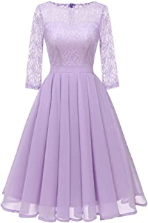 ZSBAYU Women's Elegant Floral Lace Dress 3/4 Sleeves Bridesmaid Midi Dresses Illusion Neckline