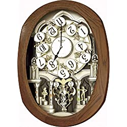 Rhythm Magic Motion Oval Wood Effect Clock (Wall Stylish Clock)