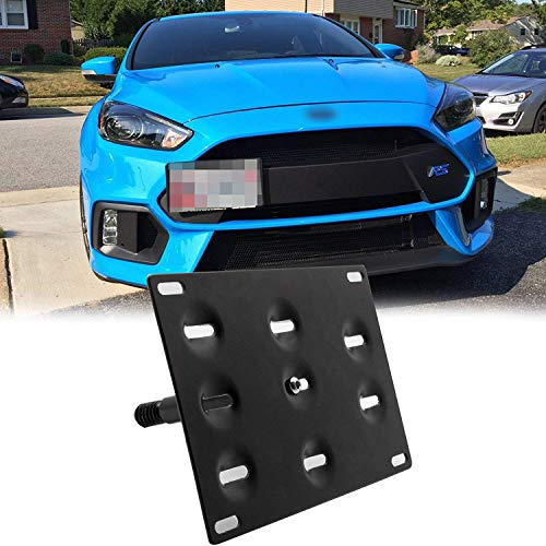Xotic Tech for Ford Focus RS 2016 2017 2018 Black Front Bumper Tow Hook License Plate - No Drill Mounting Bracket Adapter Kit