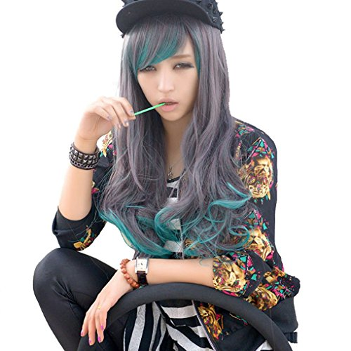 70cm/27.5Cosplay disfraz Wigs Peluca Lolita Largo Rizado Ondulado Anime Halloween Party Cabello