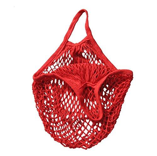 ILOVEDIY Einkaufsnetz Wiederverwendbare Einkaufstasche Obst Gemüse (Rot)
