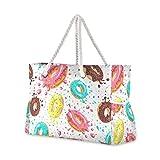 ALAZA Donut Food Dessert Polka Dot Beach Toy Bag Groceries Bag for Seaside, Shower Stall, Swiming Pool