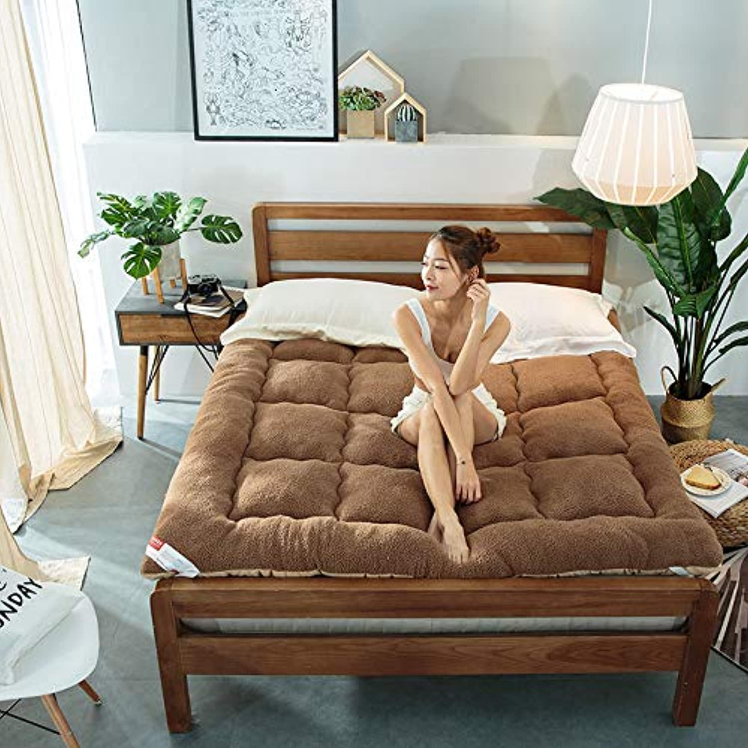 Winter Warm Thick Thermostat Mattress Lambs Mattress,Single Double Folding Cushion Floor mat Elasticated Corner Straps-C 90x200cm(35x79inch)