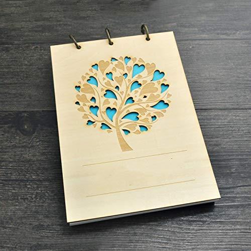 siqiwl Libro de visitas A580sheetspaper de madera Libro de visitas de boda Álbum de fotos de árbol de amor