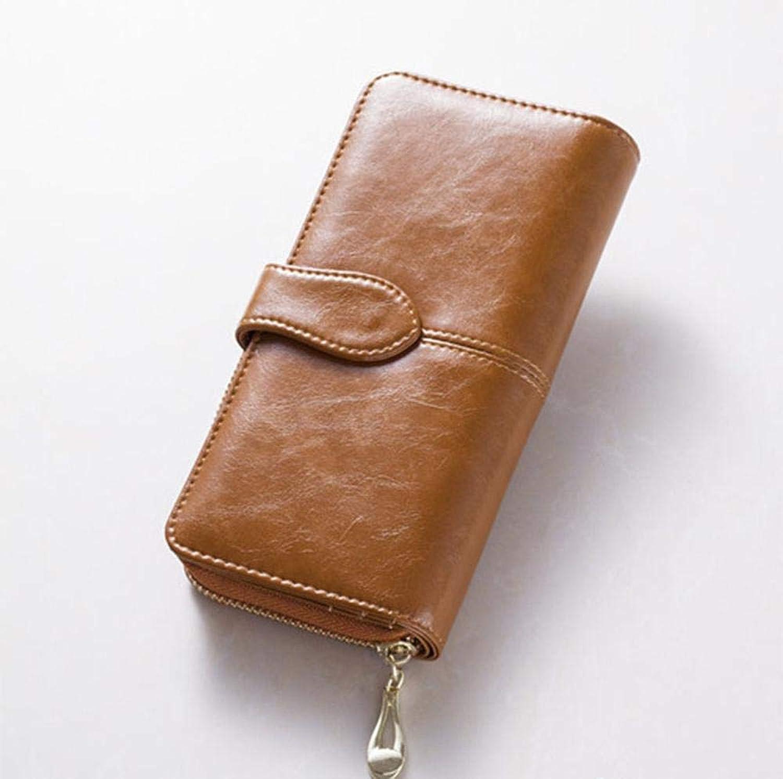 Girls Purse Women's Wallet,Ms. Oil Wax Leather Large Wallet Zipper Buckle Handbag (color   B)