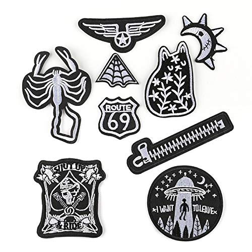 Iron on Patche/Sewing Patch,Embroidery Applique,Suitable for Hats,T-Shirts,Coats,Jackets,Pants,Shoes,suitcases,Backpacks,9pcs Styles: Black & White Alphabet Badges