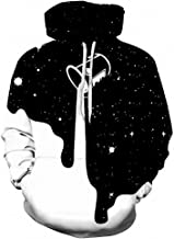 Emlyn Adrian Men 3D Sweatshirts Print Spilled Black and White Milk Space Galaxy Hoodies Tops