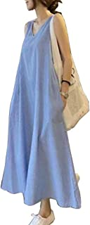 ワンピース ファッション おしゃれ ストライプ柄 キャミワンピ 2020年夏 ゆったり ノースリーブ ゆとりめノースリーブワンピース ブルー 綿麻