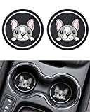 JOYTUTUS Car Coasters, Pet Car Cup Holder Coasters, Silicone Car Coaster, Non-Slip Cup Holder Coaster for Car with Pet Icon, Universal Cute Car Accessories(2 Packs) (French Bulldog, 2.75 inch)