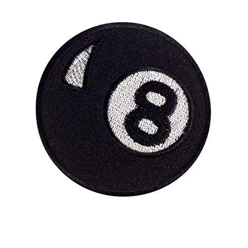 Parche bordado de 8 bolas para piscina, para planchar y decorar con estampado de motociclista.
