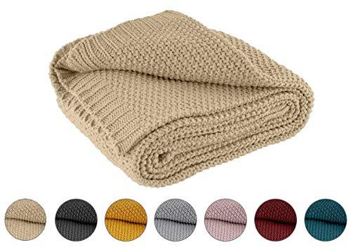 Kuscheldecke Strick 140x190 cm beige - Strickdecke OekoTex warme weiche Decke Herbst-Winter-Kollektion 20/21 Geschenk